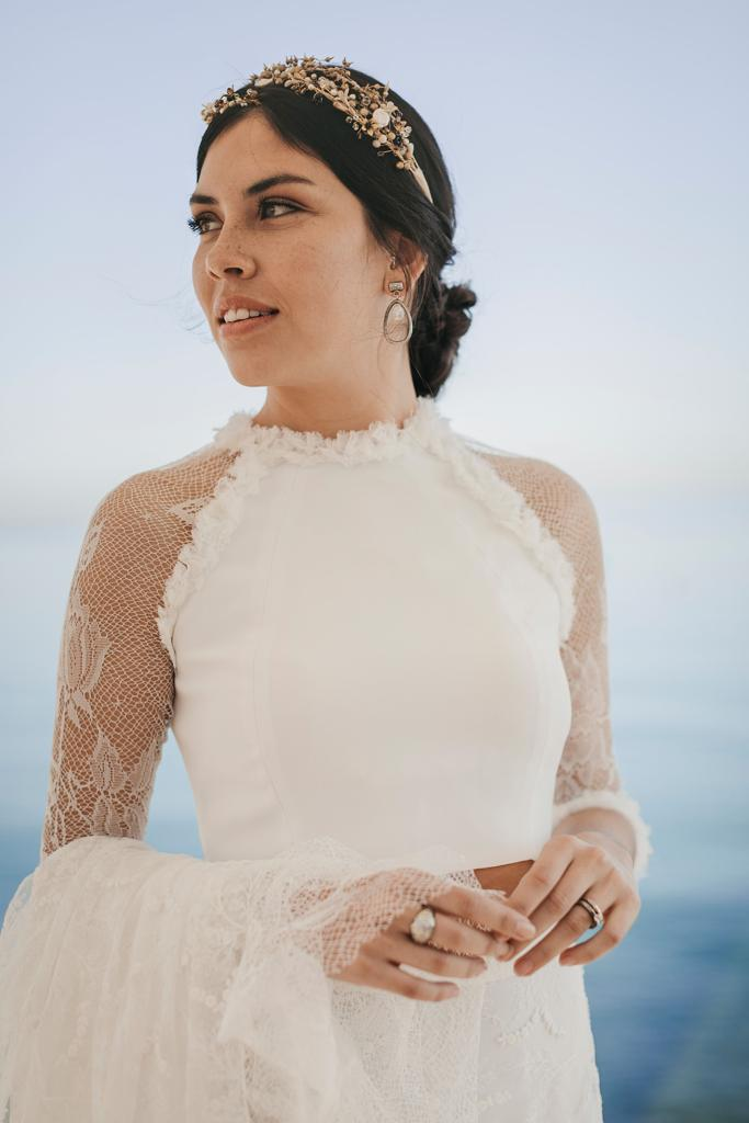 Tocado joya novia boda Tabarca Alicante