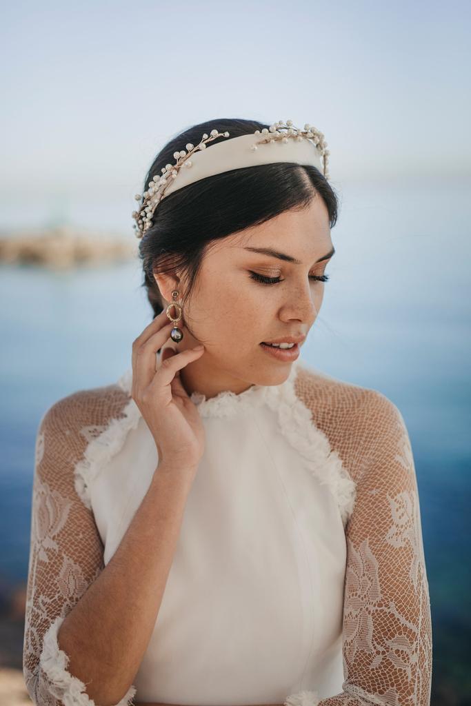Diadema novia perlas Boda Tabarca Alicante