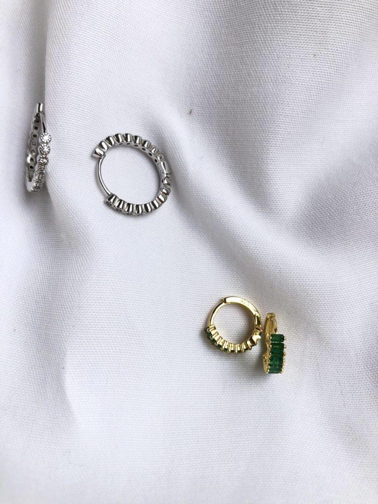 Pendientes de plata rodiada y plata bañada en oro con circonitas