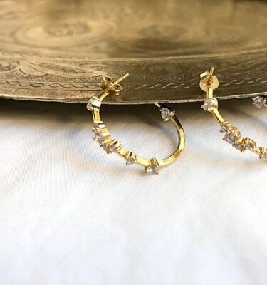 Aros planos plata bañada en oro 1 micra-circonitas aleatorias