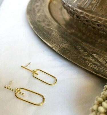 Pendientes plata 925 geométricos bañados en oro