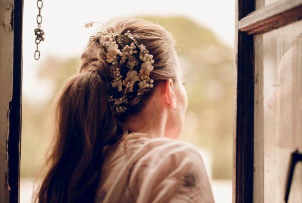 Tocado novia joya para coleta